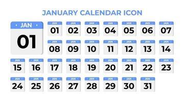January calendar icon, set on blue vector