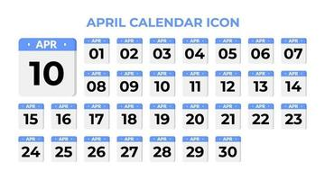April calendar icon, set on blue vector