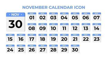November calendar icon, set on blue vector