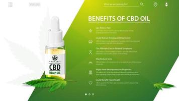 Green and white template of Medical uses for cbd oil, benefits of use CBD oil. Web banner with glass bottle of cbd oil and hemp leaf with pipette