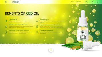 Green web banner for website with glass bottle of CBD oil, hemp leaf and pipette on background of oil drops.