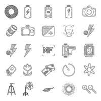 icono de conjunto de fotografía. dibujado a mano y estilo de arte doddle vector