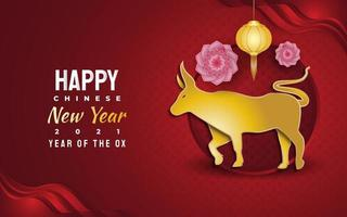 Chinese new year 2021 greeting banner with golden ox and lantern on red background. Lunar New Year 2021 year of the ox vector