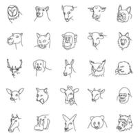 Animals Set Icon Vector with outline style
