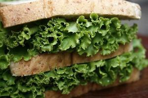 Lettuce on sandwich photo