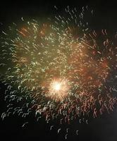 varios fuegos artificiales en el cielo.