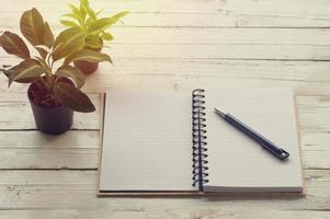 Libro abierto con papel rayado sobre la mesa con bolígrafo foto