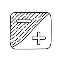 icono de exposición. Doodle dibujado a mano o estilo de icono de contorno negro vector