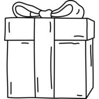 icono de regalo de boda. doddle dibujado a mano o estilo de icono de contorno negro. icono de vector