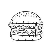 icono de hamburguesa. Doodle dibujado a mano o estilo de icono de contorno negro vector