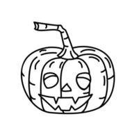 Scary Pumpkin Icon. Doodle Hand Drawn or Black Outline Icon Style vector