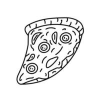 icono de pizza. Doodle dibujado a mano o estilo de icono de contorno negro