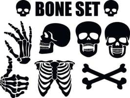 stencil set with bones vector