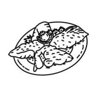 Dajaj Mashwi Icon. Doodle Hand Drawn or Outline Icon Style vector