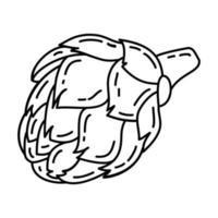 icono de alcachofa. Doodle dibujado a mano o estilo de icono de contorno vector