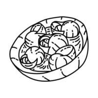Escargots Icon. Doodle Hand Drawn or Outline Icon Style