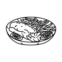 Fried Catfish Icon. Doodle Hand Drawn or Outline Icon Style vector