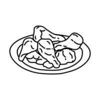 Buffalo Wings Icon. Doodle Hand Drawn or Outline Icon Style vector