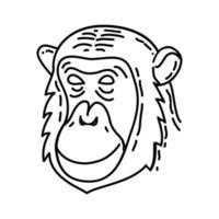 icono tropical mono. Doodle dibujado a mano o estilo de icono de contorno vector