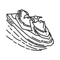 buen icono de jet ski. Doodle dibujado a mano o estilo de icono de contorno vector