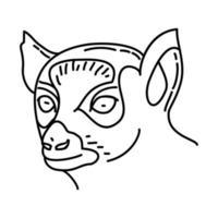 icono de lémures. Doodle dibujado a mano o estilo de icono de contorno vector