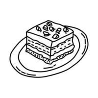 icono de pastel de barro. Doodle dibujado a mano o estilo de icono de contorno vector