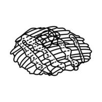 Okonomiyaki Icon. Doodle Hand Drawn or Outline Icon Style vector