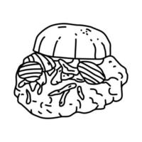 icono de sandwich de lomo de cerdo. Doodle dibujado a mano o estilo de icono de contorno vector