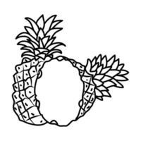 icono tropical de piña. Doodle dibujado a mano o estilo de icono de contorno