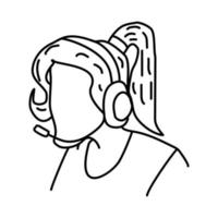 Call Center Icon. Doodle Hand Drawn or Outline Icon Style vector