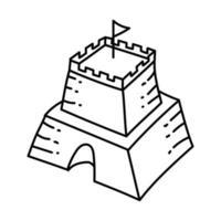 icono de castillo de arena. Doodle dibujado a mano o estilo de icono de contorno vector