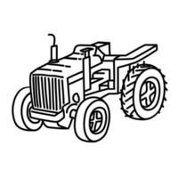 Tracktor Icon. Doodle Hand Drawn or Outline Icon Style vector