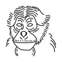 Siamang Icon. Doodle Hand Drawn or Outline Icon Style vector