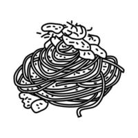 Spaghetti Carbonara Icon. Doodle Hand Drawn or Outline Icon Style vector