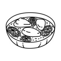 Skillet Chicken Piccata Icon. Doodle Hand Drawn or Outline Icon Style vector