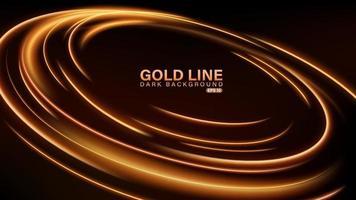 Gold line of light on dark background vector