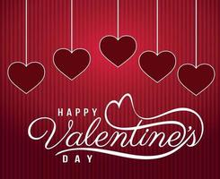 Happy saint valentine day congratulation with red and pink.14 february vector