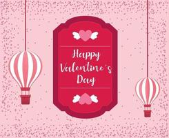 Valentine's day concept background with hot air balloons. Vector illustration.