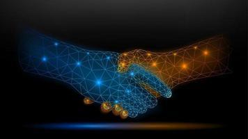 Blue and gold wireframe glowing handshake on dark background vector