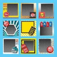 Sale banner templates set with space for product image. Vector illustration