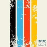 Vintage grunge texture background with retro color stripes. Vector illustration