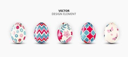 Realistic 3d Easter Egg Design Element Collection Set on Light Background. Vector Illustration