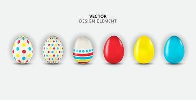 Conjunto de colección de elementos de diseño de huevos de pascua multicolor vector