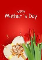 Happy Mother s Day Card with Realistic Tulip Flowers. Template for advertising, web, social media vector