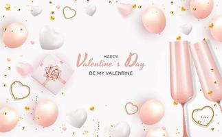 Valentine's Day Holiday Gift Card With Text on white background vector