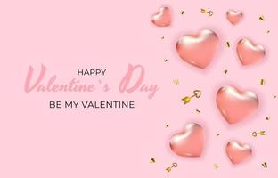 Valentine's Day Holiday Gift Card Background Realistic Design. Template for advertising, web, social media and fashion ads. Poster, flyer, greeting card, header for website Vector Illustration
