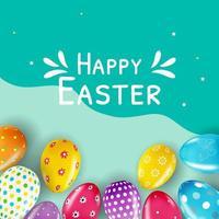 plantilla de cartel de feliz pascua con huevos realistas 3d vector