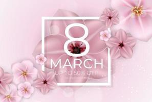 feliz día de la mujer 8 de marzo tarjeta de felicitación vector