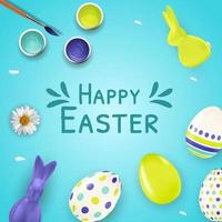 Easter poster template with 3d realistic Easter eggs, bunny, paint and brush. Template for advertising, poster, flyer, greeting card. Vector Illustration