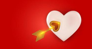 Heart with cupid's golden arrow. Realistic 3d design element. Vector Illustration
